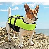 Namsan Giubbotto di Salvataggio per Cani Regolabile Salvagente Cane con Striscia Riflettente Verde - M
