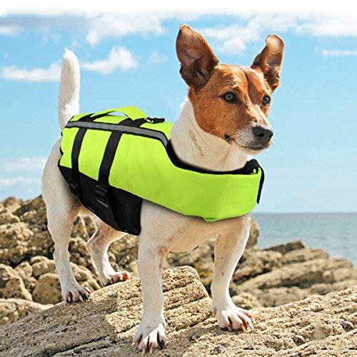 Namsan Hunde-Schwimmweste-Hundelebensweste Schwimmmantel für Mittlere Hunde, Grün