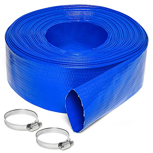 Gonioa 2Inch x 50-Feet Heavy-Duty PVC Swimming Pool Backwash Hose,Reinforced Discharge Hose with Clamp for Swimming Pools,Blue