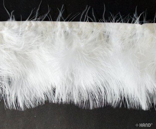 Fascinators, Chapeaux, Fringe garniture en plumes d'oie 19cmW - 2 mètres (G11 blanc)