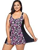 DELIMIRA Donna Costume da Bagno Floral Stampato con Gonna Abito a Nuotare Multicolore #3 52