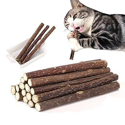 15PCS Natural Silvervine Sticks for Cats, Catnip Sticks Matatabi Chew Sticks Teeth Molar Chew Toys for Cat Kitten Kitty Teeth Cleaning