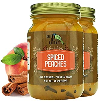 Green Jay Gourmet Spiced Peaches in a Jar - Fresh Hand Jarred Fruit for Cooking & Pantry – Home Grown Pre-Prepared Pickled Peaches With Cinnamon Sticks– Simple Natural Ingredients -2 x 16 Ounce Jar