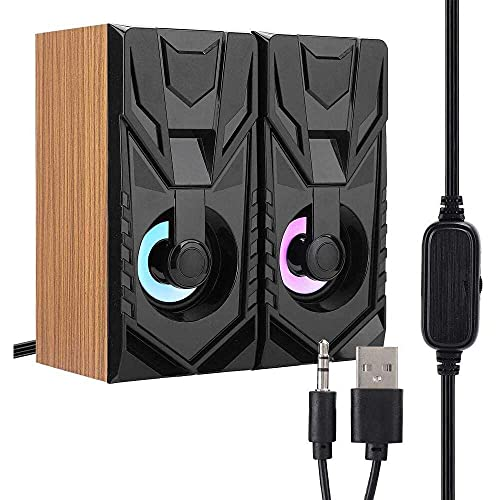 Yuyanshop Woodiness USB-Lautsprecher für Desktop-Laptop Soundbox 2.0...