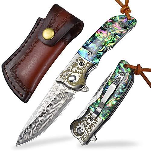 AUBEY Damast Taschenmesser Abalone Klappmesser Outdoor Messer, Eindhandmesser aus Japanischem Damaststahl, Schönes Geschenk