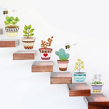 Pegatinas pared vinilo decorativo macetas cactus para escaleras salon dormitorios cocina de CHIPYHOME: Amazon.es: Bricolaje y herramientas