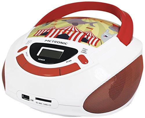 Metronic Radio/CD-speler voor kinderen, oceaan, met USB-/SD/AUX-IN-poort rood/wit