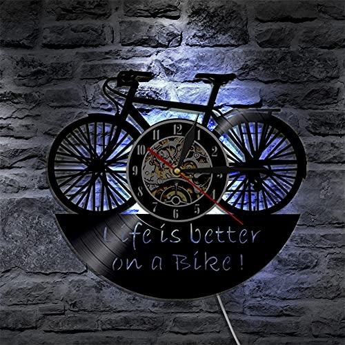 LQWE Reloj de Pared de Vinilo de Bicicleta, Diseño Vintage de Silueta de Disco de Vinilo Hecho a Mano, Regalo para el Hogar, Decoración Interior