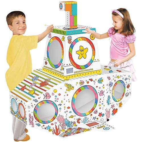 JW-MZPT DIY Doodle Play House, DIY Dibujo Arte Craft Set para niños Cartón Playhouse Pintura Casa para Pintar y Decorar