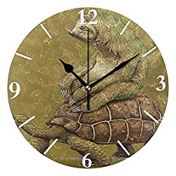 SLHFPX Wall Clock Sloth Ride Sea Turtle Silent Non Ticking Decorative Round Digital Clocks for Home/Office/School Clock