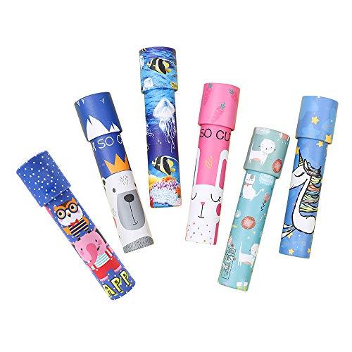 Gobesty Caleidoscopio para niños, 6 piezas, giratorio, magia, juego clásico, juego educativo para niños, juego de caleidoscopio de papel, juego de fiesta, prisma, rompecabezas telescópico