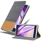Cadorabo Hülle für Sony Xperia XZ/XZs in HELL GRAU BRAUN - Handyhülle mit Magnetverschluss, Standfunktion & Kartenfach - Hülle Cover Schutzhülle Etui Tasche Book Klapp Style
