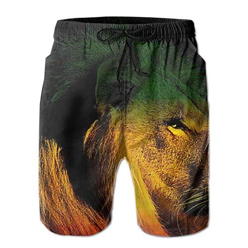 akingstore Gentleman Lion of Jamaica Reggae Badehose Summer Beach Shorts Pockets Boardshorts für Herren mit Mesh-Futter