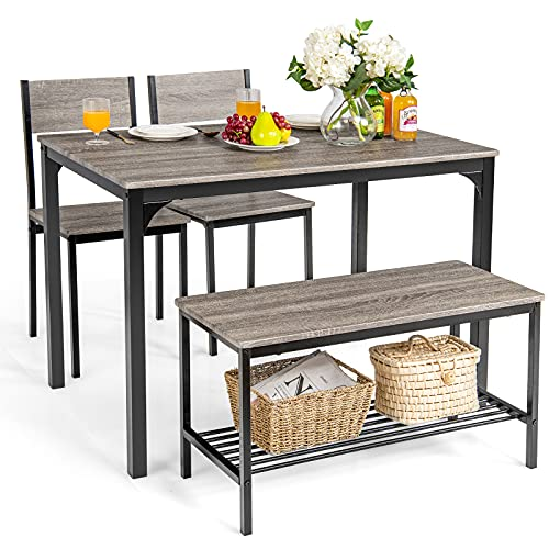 Giantex Dining Table Set for 4, Kitchen Table with Bench and Chairs, Industrial Gathering Bench Dining Set W/Metal Frame & Storage Rack, Dinette Set, Modern Functional Desk Set (Black Oak)