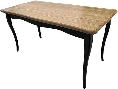 ZONS Table de Salle à Manger médaillon 4 à 6 Personnes Façon Louis XV, Bois et Noir,