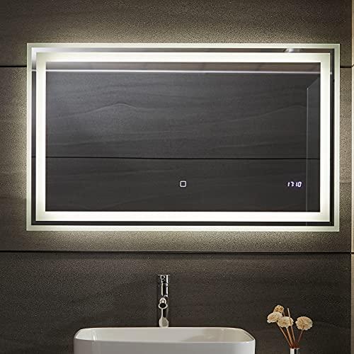 Aquamarin® Miroir de Salle de Bain LED - CEE: A++, Tactile, Mural, 3 en 1 Éclairage Blanc Froid/Chaud/Neutre, Anti-Buée, Horloge Numérique, Taille au Choix - Miroir Lumineux, Cosmétique (100 x 60 cm)