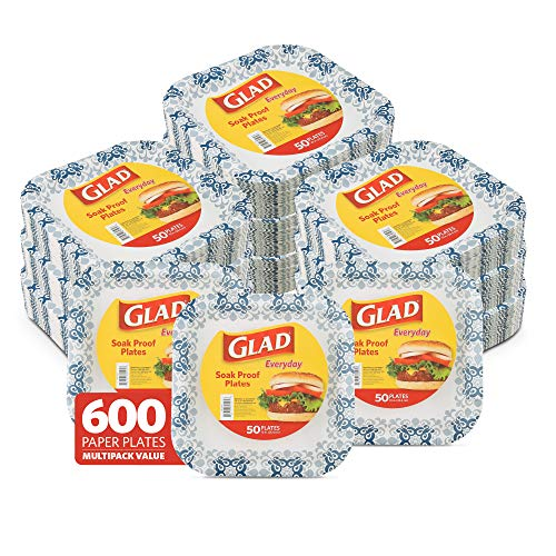 """Glad 10"""" Square Paper Plates   Soak Proof Disposable Paper Plates   50 Ct White Paper Plates with Blue Victorian Design, Strong & Heavy Duty Square Paper Plates (12 Pack, 600 Plates Total)"""