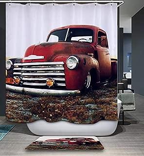 "GoJeek Chevy Truck Shower Curtain Retro Rustic Red Truck Cars Bathroom Decor (72""x72"")"