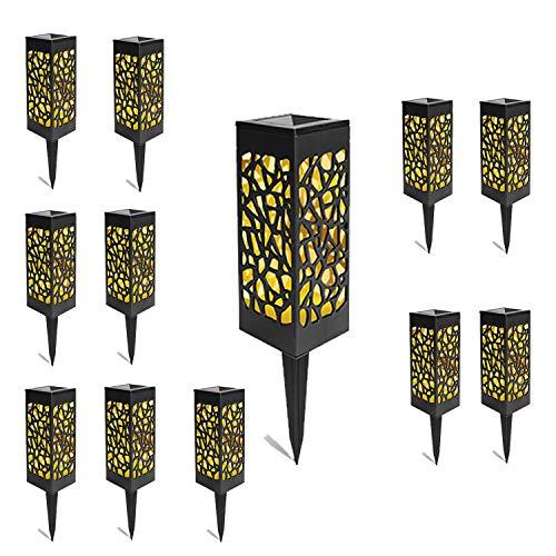 VINGO 12 Stück Solarleuchten Garten, IP55 Warmweiß Solar Gartenleuchte, Außen Solarlampen für Garten Terrasse Rasen Patio Hofwege, Gartendeko Solarleuchte mit Erdspieß Kunststoff