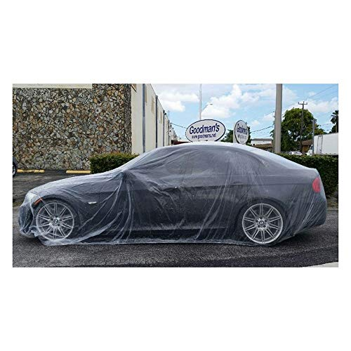 Car Condom Disposable Clear Plastic Car Cover with Elastic Band Medium Size 21' x 12.5'