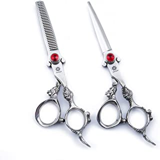 6.0 inch Professional Dragon Handle 440C Salon Hair Cutting Scissor - Hairdressing Thinning Shears- Perfect for Barber and Home Use