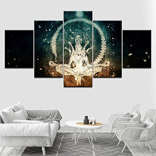 Modern Abstract Home Decor Poster Modular 5 Pieces HD Printed Alien Predator Paintings Canvas Wall Art Movie Character Pictures+Modern Abstract Home Decoration Poster Modular 5 High defin. (ZYJ1011)