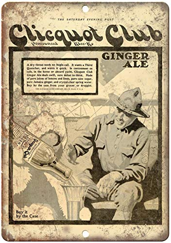Decorative Vintage Retro Metal Sign Clicquot Club Ginger Ale Vintage Ad Metal Tin Sign 8 X 12 inches
