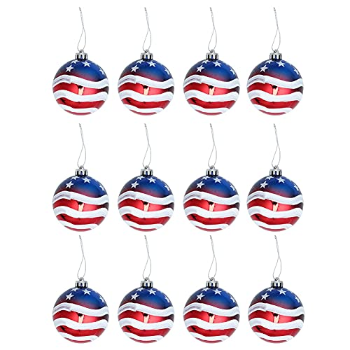 Patriotic Hanging Balls Ornaments 4th of July Ball Hanging Decoration Independence Day Party Holiday Decor 12PCS 6cm Decor-Modern
