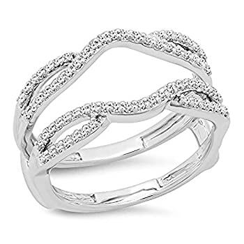 Dazzlingrock Collection 0.35 Carat  ctw  Round White Diamond Ladies Wedding Band Guard Double Ring 1/3 CT 10K White Gold Size 5.5
