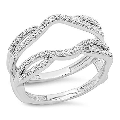 Dazzlingrock Collection 0.35 Carat (ctw) Round White Diamond Ladies Wedding Band Guard Double Ring 1/3 CT, 10K White Gold, Size 7.5