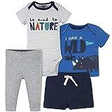 Gerber Baby Boys' Toddler4-Piece Shirt, Bodysuit, Short and Pant, Blue Wild Side Onesie, 3-6 Months