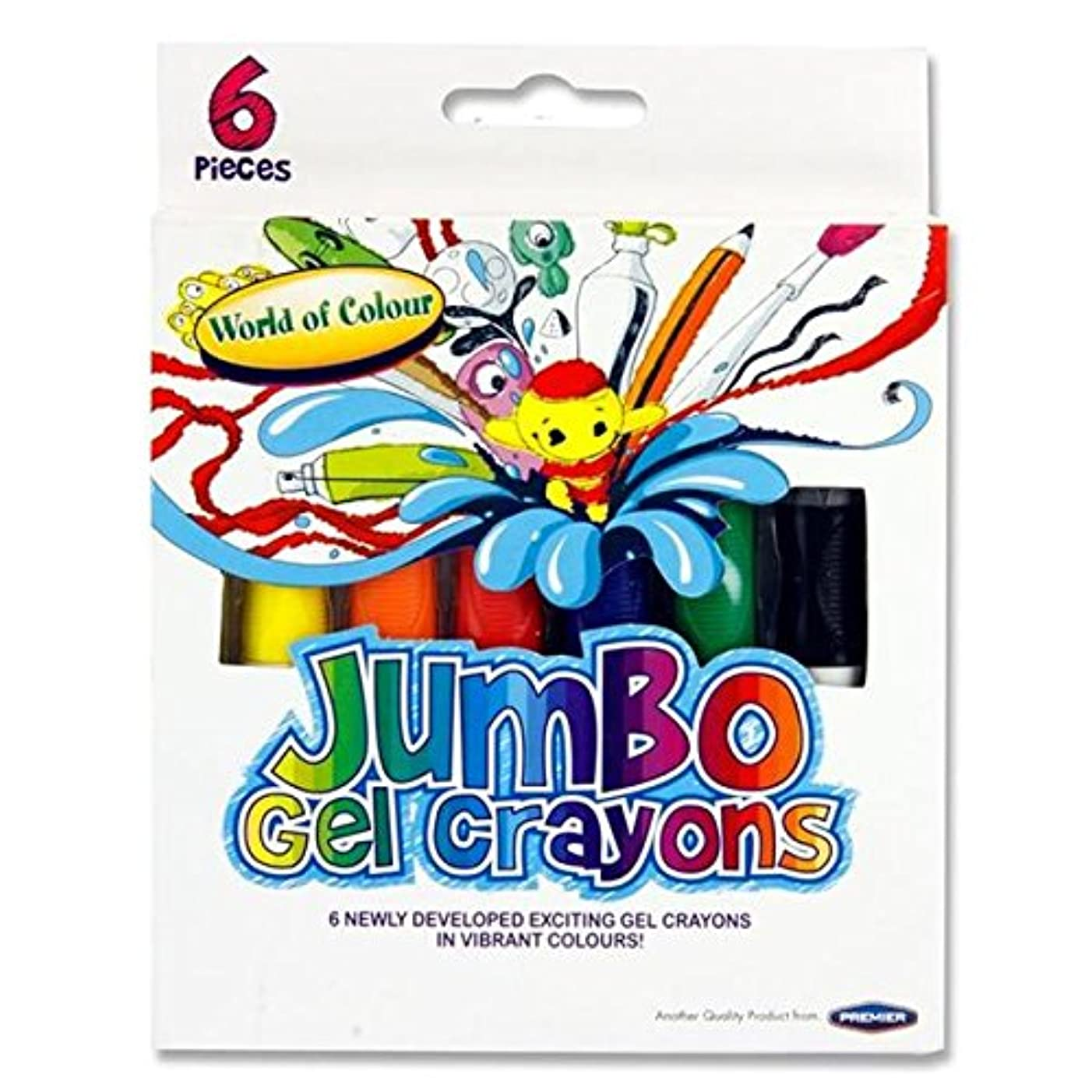 Premier Stationery 79681 World of Colour Jumbo Gel Crayon - Multi-Colour (Pack of 6)