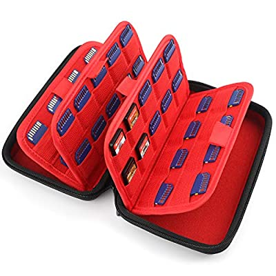 momen Game Card Case for Nintendo Switch with 72 Game Card Holders?3ds Game Case For Nintendo 3DS/2DS, Switch PS Vita games or SD Memory Cards ?Black&Red?
