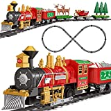 FUN LITTLE TOYS 30 PCs Electronic Classic Railway Train Set Includes 17 Tracks, 1 Locomotive, 4 Carriages, 6 Trees and 2 Elks, Batteries Operated Toy Train Set with Light and Sound