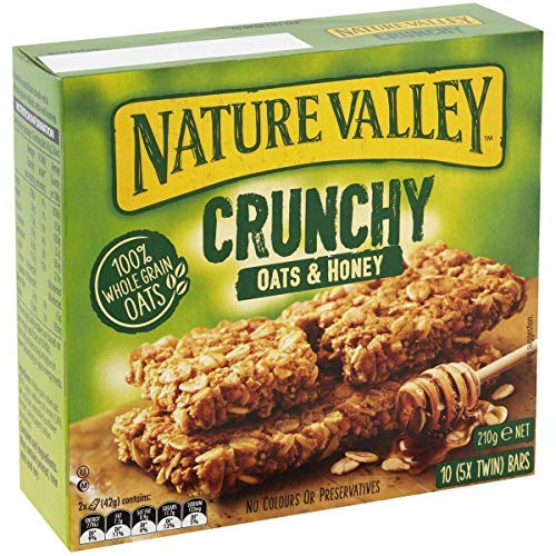 Nature Valley Crunchy Cereal Bars 100% Whole Grain Oat Flakes and Honey Without Colorings or Preservatives Lactose Free Suitable for Vegetarians - 1 x 210 Gram (10 Bars)