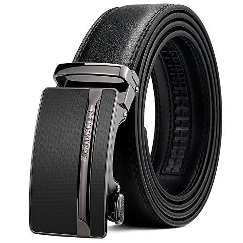 BOSTANTEN - Cinturón de cuero para hombre con hebilla deslizante automática, negro, (005-Black), Waist 36-39