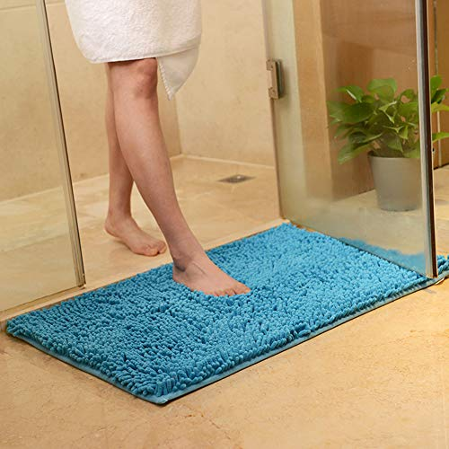 vctops Plush Chenille Bath Rugs Extra Soft and Absorbent Microfiber Shag Rug, Non-Slip Runner Carpet for Tub Bathroom Shower Mat Lake Blue 16' X 24'