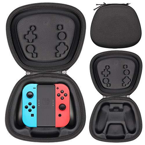 Sisma Aufbewahrung Tasche für Offizielle Nintendo Switch Joy Con Halterung mit Joycon Controller, Hardcase Stoßdämpfender Schutz Hülle - Schwarz