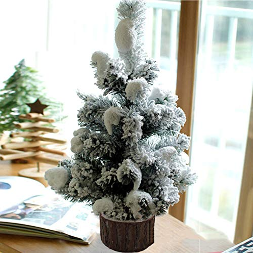 XIAOMEI Mini Accorrevano Albero di Pino di Natale Neve Desktop Nevoso Artificiale PVC Casa di Natale Partito Ornamenti(Verde)