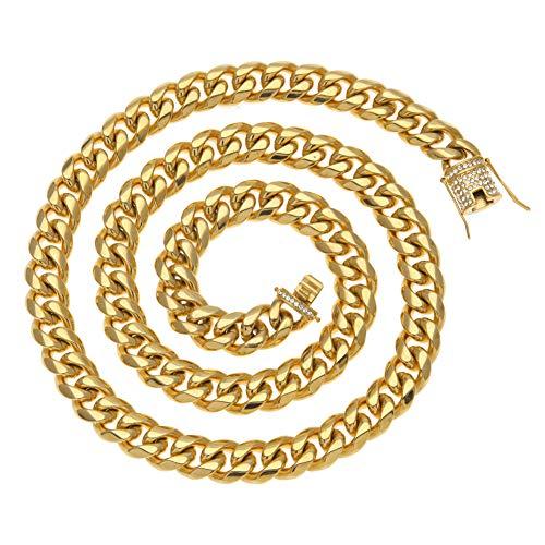 Rap Schmuck Ebay Europa und den Vereinigten Staaten hochwertige Diamantschnalle 14mm Edelstahl Herren Hip-Hop kubanischen Halskette (Gold, Silber), Schmuck, Geschenk-gold-18inches