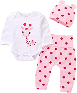 Newborn Toddler Baby Girl Outfits Giraffe Bodysuit Top + Pink Legging Pants Set with Hat Infant Clothes