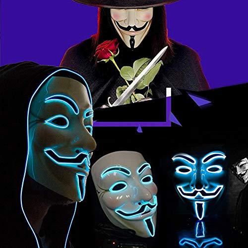 zhaokai Maschera LED Vendetta Maschera Anonymous Guy Fawkes Maschera Carnevale Maschera Cosplay Travestimento di Halloween Party Viso
