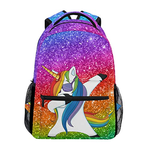 Hunihuni Unicorn Dab Durable Backpack College School Book Shoulder Bag Daypack for Boys Girls Man Woman