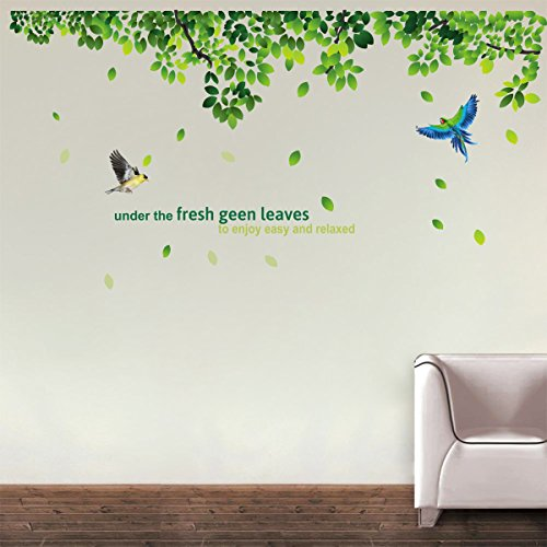 Creatick Studio Fresh Green Leaves Wall Decals Two Birds Vinyl Wall Decals Butterfly Decal Wall Decals Wall Stickers (84 cm x 152 cm)