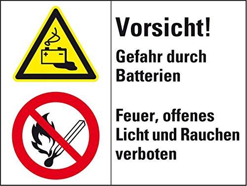 LEMAX® Kombischild mit Symbolen Vorsicht! Gefahr durch Batterien..., Folie,200x150mm