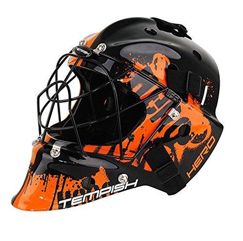 Floorball Helm IFF zertifiziert für Torwart, Tempish Torhüter Unihockey senior schwarz/orange
