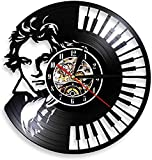 Retrato músico Symphony clásico Retro Reloj de Pared Teclado de Piano Mural Reloj de Pared con Registro de Vinilo