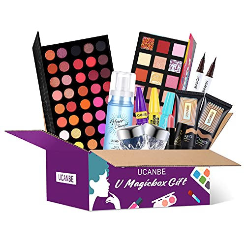 All In One Makeup Sets Make Up Kit Girlfriend Gifts Set Complete Beauty Box Includes Eyeshadow Palette Liquid Foundation Eyeliner or Lipstick Setting Spray (02)