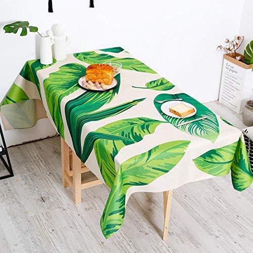 Tafelkleed Antimacchia rechthoekig tafelset rechthoekig met sprei Palma bladgroen 140 x 180 cm