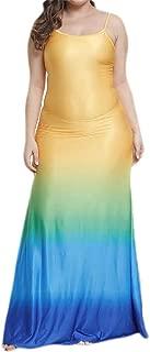 FSSE Women's Gradient Color Spaghetti Strap Sexy Plus Size Sundress Maxi Long Dress